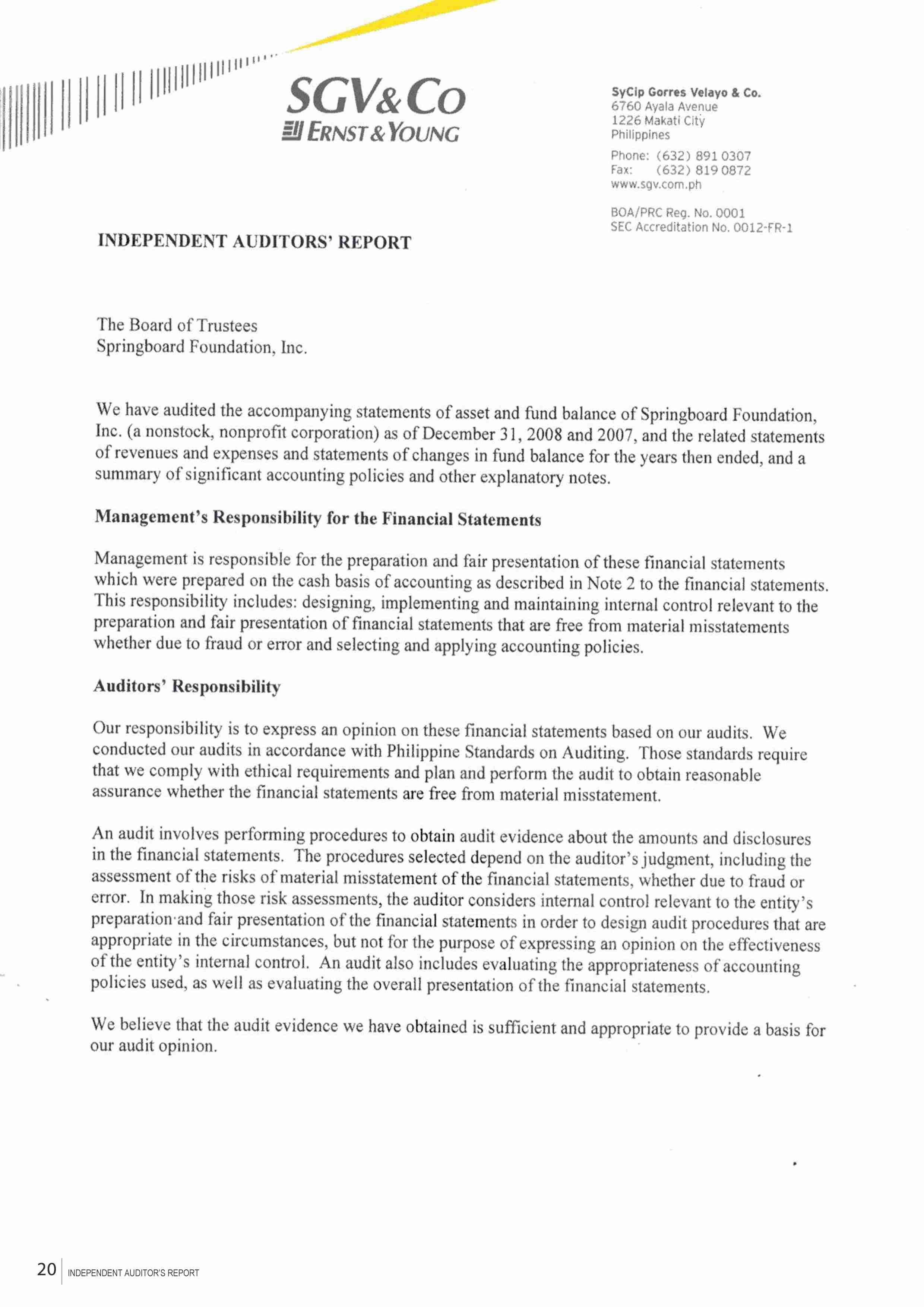 P18 independent auditors report springboard foundation p18 independent auditors report thecheapjerseys Images
